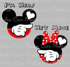 This listing is a digital download ofI'mHers and He's MineMickey and MinnieMouse Ears to be used for a variety of items such as decals, scrapbook decoration
