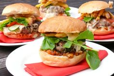 Lamb burger with blue cheese, pear and tomato Chutney, rocket and chips anyone?