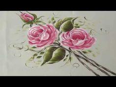 Como pintar Rosas rosadas en Tela (1/2) - YouTube