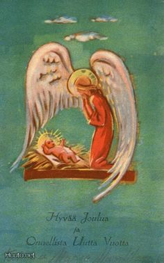 Martta Wendelin Christmas Nativity, Christmas Art, New Year Postcard, Angel Pictures, Joy To The World, Old Toys, Xmas Cards, Christmas Inspiration, Vintage Images