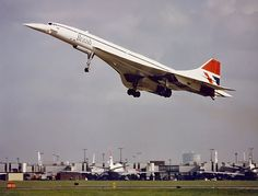 The Concorde taking off at London Heathrow Airport London England to New York America Heathrow Airport, Concorde, London England, Fighter Jets, Aircraft, Aeroplanes, America, Make It Yourself, How To Make
