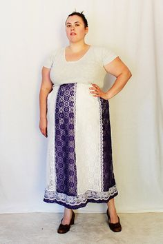 Plus Size  Vintage Purple & White Lace Gore Skirt by TheCurvyElle