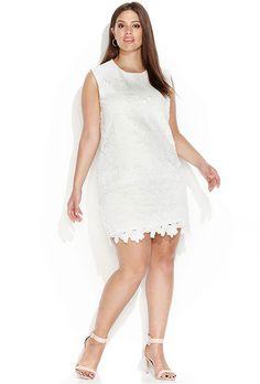 15284aba2091 Calvin Klein Floral Lace Short Plus-Size Wedding Dress Bryllupskjoler