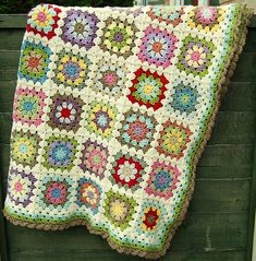 Finished Granny : granny square afghan – with all cream borders Crochet Granny Square Afghan, Afghan Crochet Patterns, Granny Squares, Crochet Afghans, Granny Granny, Crocheted Blankets, Knitting Patterns, Love Crochet, Crochet Yarn