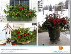 Winter greenery outdoor decor