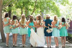 shades of turquoise bridesmaids dresses - Green Vintage Photography