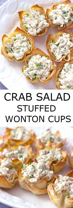 Crab Salad Stuffed Wonton Cups are an easy appetizer that can be made ahead of time.  They would be perfect for any holiday party! via @afinks