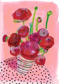Flowers On My Table Art Print by lovelysweetwilliam on Etsy