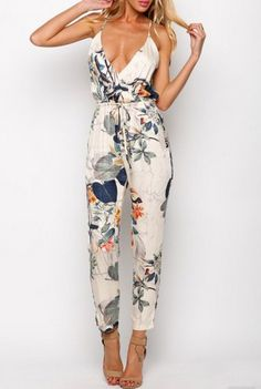 @jess6162 I got this for myself ;D White Spaghetti Strap Leaves Print Slim Jumpsuit 16.99