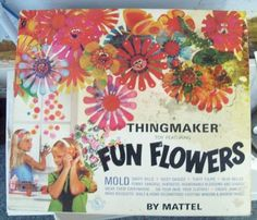VINTAGE MATTEL THINGMAKER FUN FLOWERS TOY FROM 1960S IN BOX W/ MOLDS, GOOP ETC.