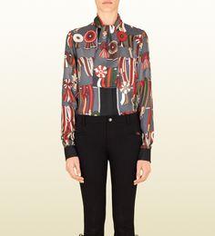 #gift Gucci camicia con collo a sciarpa in seta grigia collezione equestrian grigio