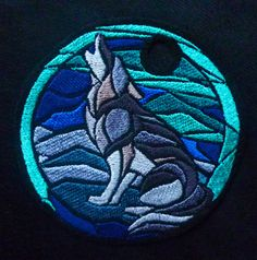 Northern lights howl -  Embroidery patch / door hanger on Etsy, $23.50