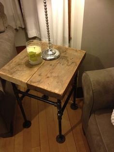 Industrial Inspired Wood Side Table by IndustrialUpcycled on Etsy, $195.00