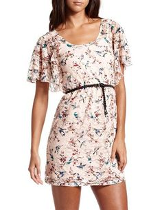 Belted Bird Print Lace Dress: Charlotte Russe