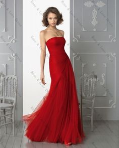 New Arrival A-line Pleated Strapless Floor-length Red Elegant Tulle Evening Dres