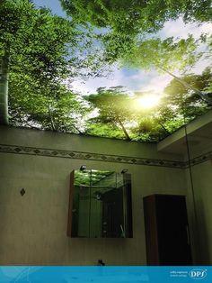 Sufit napinany w łazience ze zdjęciem lasu Sky Ceiling, Central Park, Aquarium, Ceilings, Places, Interior, Slim, Murals, Backgrounds