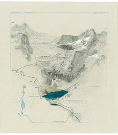 Kaweah Headwaters - Valhalla. Graphite, pen Matthew Range