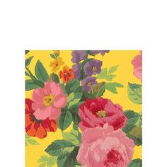 Bright Roses Beverage Napkins 16ct - Party City