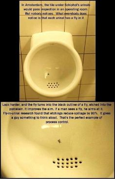 Etch a fly into your urinal. Reduces spillage by 80%!