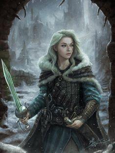 Beautiful girl with sword: Original fantasy character [digital art by TheFirstAngel] Warrior Girl, Fantasy Warrior, Fantasy Rpg, Medieval Fantasy, Fantasy Artwork, Dark Fantasy, Dungeons And Dragons Characters, Dnd Characters, Fantasy Characters