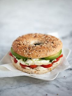 Follow this recipe to make an Egg and Vegetable Bagel Sandwich.
