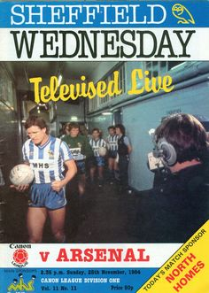 Sheffield Wednesday: Televised Live V Arsenal ⚽⚽⚽ Sheffield Wednesday Fc, Sir Alex Ferguson, Football Memorabilia, Football Program, Arsenal, Owls, Baseball Cards, Live, Retro