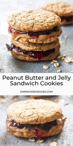Gluten free and naturally sweetened Peanut Butter and Jelly Sandwich Cookies are a healthy lunch box friendly back to school recipe! Sweet raspberry jam and sticky nutty peanut butter get sandwiched between soft oatmeal cookies. Healthy Dishes, Healthy Dessert Recipes, Veggie Recipes, Chicken Recipes, Soft Oatmeal Cookies, School Recipe, Sandwich Cookies, Healthy Cookies, Group Meals