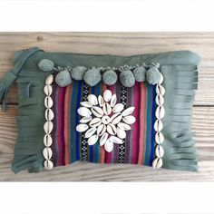 Bonk Ibiza boho leather clutch with fringes and cowrie shells