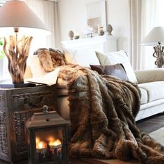A faux fur throw and a cable knit pillow or two is EXACTLY whst i want