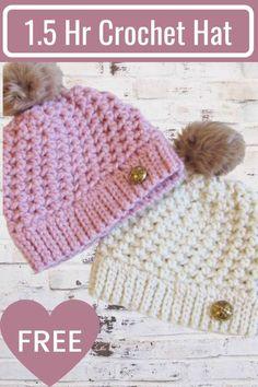 Crochet Toddler Hat, Chunky Crochet Hat, Quick Crochet, Knit Or Crochet, Crochet For Kids, Crochet Crafts, Crochet Stitches, Toddler Mittens, Crocheted Hats