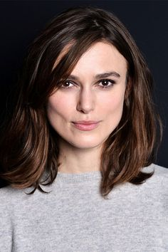 Loving the way that Keira Knightly frames her square shaped face with a deep side part and a layered bob
