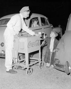 Negative - Coca-Cola, Mobile Coca-Cola Sales, Skyline Theatre, Burwood, Victoria, Mar 1954 Drive In Theater, Movie Theater, Coca Cola Sales, Australian Road Trip, Melbourne Suburbs, Australian Vintage, Pepsi Cola, South Australia, The Good Old Days