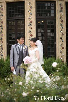 ピンク芍薬のラウンドブーケとヘッドドレス @小笠原伯爵邸  ys floral deco