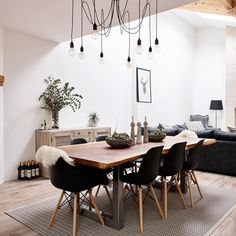 Modern dining living room high ceiling white scandi industrial – Idees de Salle a Manger Living Room Modern, Living Room Interior, Home Living Room, Narrow Living Room, Elegant Living Room, Dining Room Design, Dining Room Table, Apartment Furniture Layout, Decoration