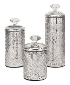 Look at this #zulilyfind! Nikki Chu Waldorf Mercury Glass Canisters - Set of Three by IMAX #zulilyfinds