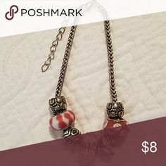 Charm Bracelet NWOT Lampwork glass beads, Rhoidium metals, adjustable chain. Different shades of pink with a hint of White. Super cute stocking stuffer for an up-and-coming Fashionista🎄Won't tarnish. Bundle and save on shipping. Jewelry Bracelets