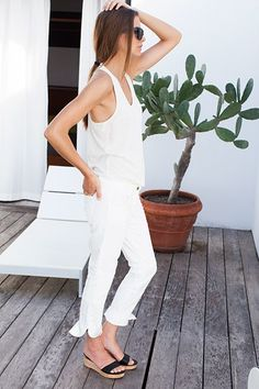 all white summer #style #fashion
