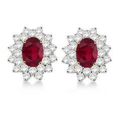 Allurez Diamond & Oval Cut Ruby Earrings 14k Yellow Gold (3.00ctw) (€1.770) ❤ liked on Polyvore featuring jewelry, earrings, royal jewellry, 14k diamond earrings, stud earrings, 14k yellow gold earrings, 14k gold earrings and 14 karat gold earrings