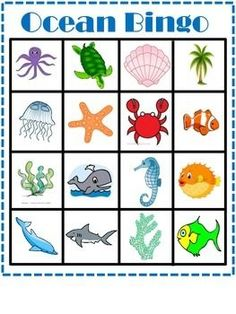 Preschool June Fun At the Beach. free printable ocean or beach theme bingo game Ocean Themes, Beach Themes, Ocean Crafts, Ocean Themed Crafts, Ocean Animal Crafts, Ocean Unit, Under The Sea Theme, Preschool Activities, Beach Theme Preschool