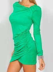 Long Sleeves Solid Color Pleated Stylish Dress For Women