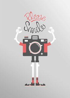 Camera screenprint poster Please Smile