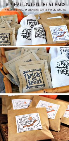Different Favor and Treat Bags variations: sewn paper bags, stapled bags, iron-on transfer bags, printed bags.....free Halloween printable download by artist Stephanie Corfee via lilblueboo.com #party #partyfavors
