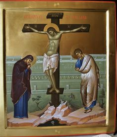 The Crucifixion More icons of Christ's Passion… Images Of Christ, Religious Images, Religious Icons, Religious Art, Byzantine Icons, Byzantine Art, Anima Christi, Life Of Christ, Best Icons