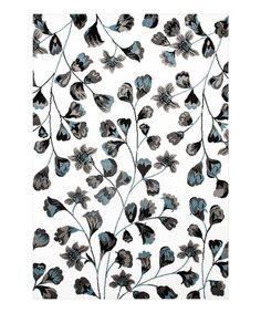 World Rug Gallery White & Blue Flower Pattern Rug | zulily