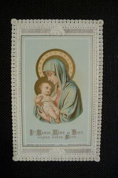 Antique holy card Paper lace St Marie Mere De Dieu by PapersOfOld, $13.00