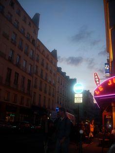 Streets of Paris at night.