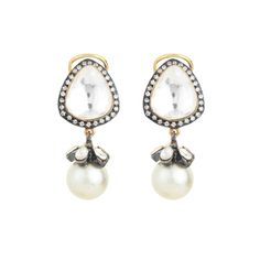 Knowledge collection fusion kundan stud pearl drop contemporary earrings for women dilan jewels