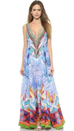 Camilla Long V Neck Drawstring Dress. 100% Silk.  Divine....