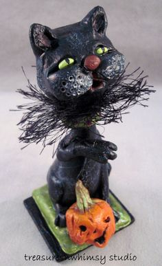 Whimsical Halloween  OOAK Black Cat by Treasuresnwhimsy on Etsy