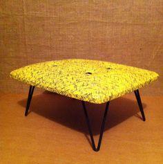 Kurrlson hairpin footstool with vintage atomic vinyl upholstery